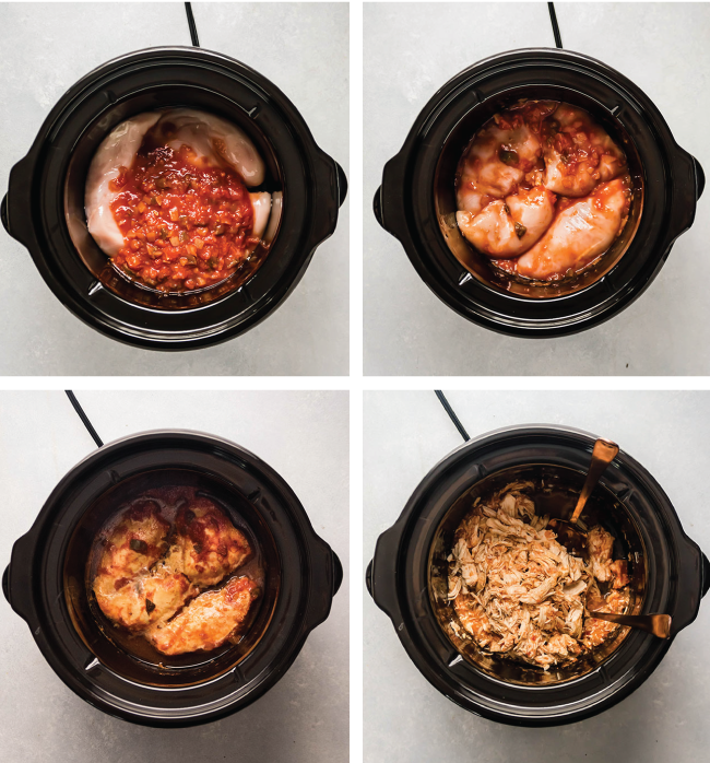step by step photo collage illustrating how to make slow cooker salsa chicken